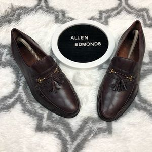 Allen Edmonds SIENA Burgundy Tassel Loafers 11 D